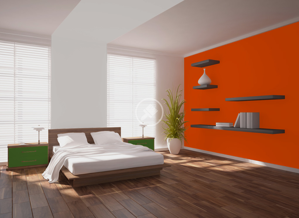 peinture orange murale d cohom. Black Bedroom Furniture Sets. Home Design Ideas