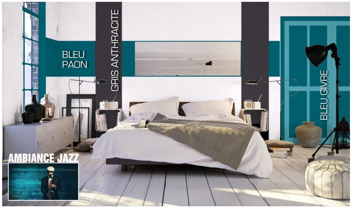 peinture bleu paon decohom. Black Bedroom Furniture Sets. Home Design Ideas
