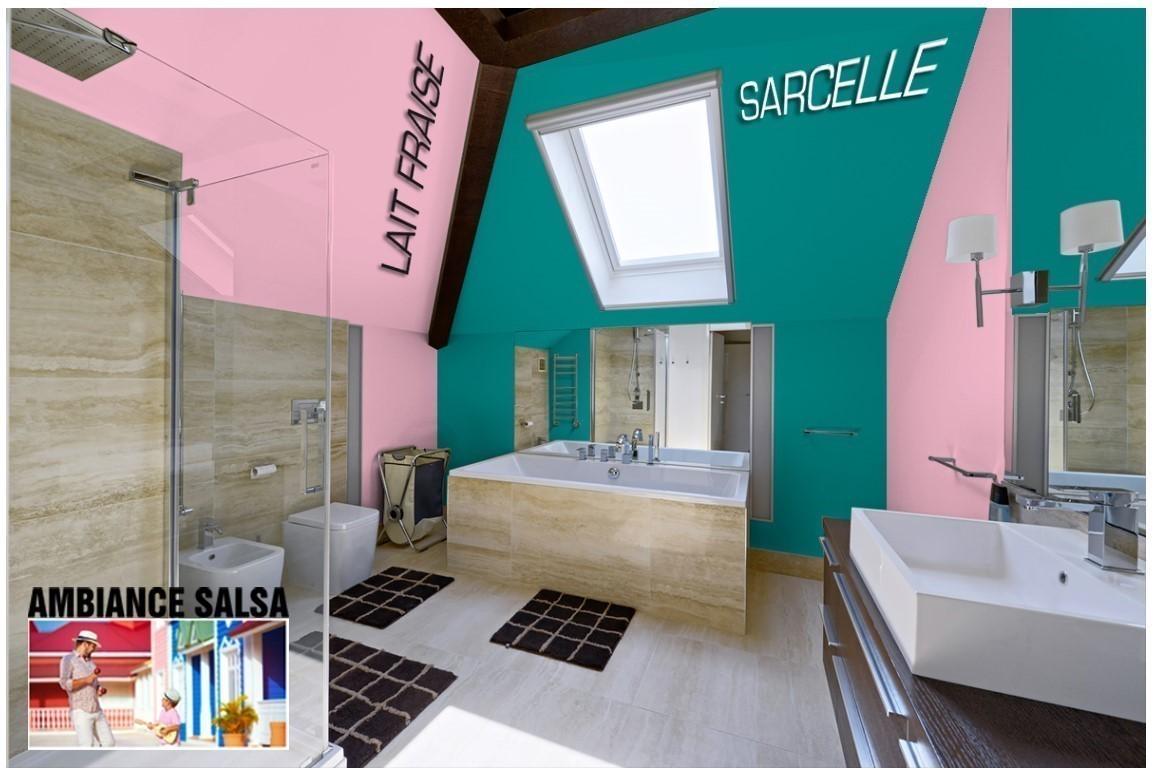 Exemple salle de bain couleur  Lait fraise
