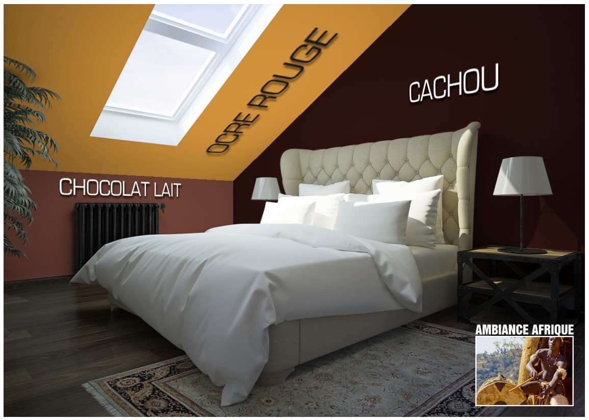 Exemple chambre couleur  Ocre rouge