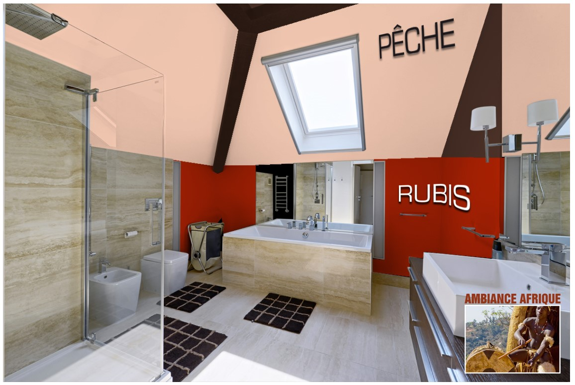 Exemple salle de bain couleur  Pêche