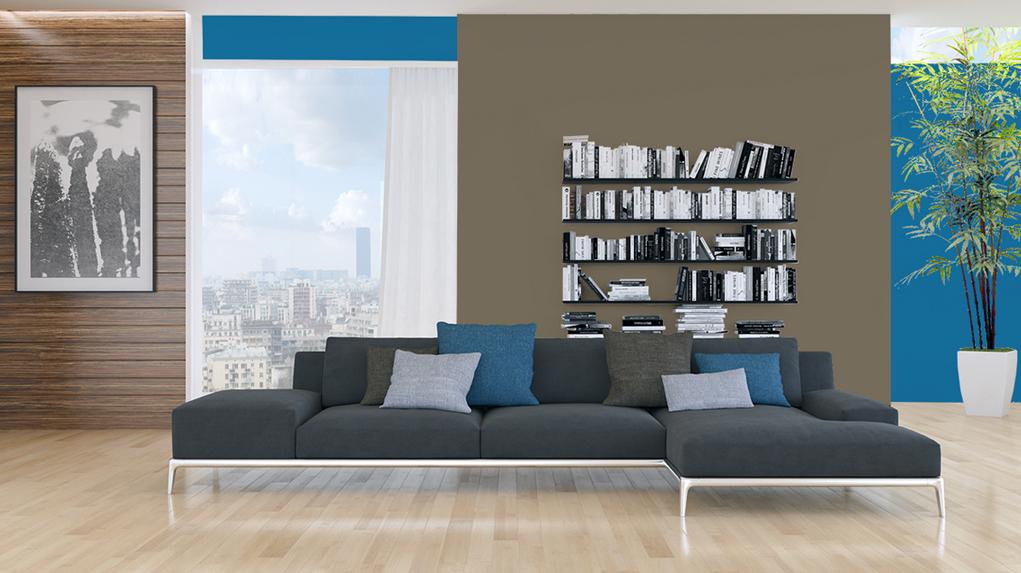 Peinture bleu murale d cohom for Deco sejour bleu