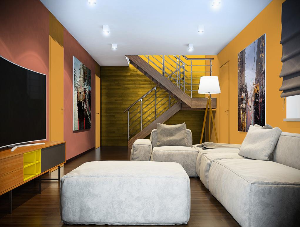 Peinture jaune murale d cohom for Deco sejour jaune